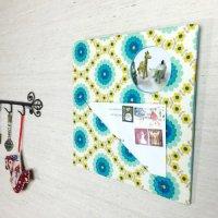 ウォールポケット&ミニフレーム 花柄ブルー|ファブリックボード