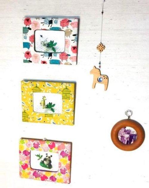 ピンナップ1: 小鳥と鳥かごのプリント 布フォトフレーム